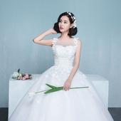 新娘婚纱2018夏季新款韩式结婚双肩显瘦花朵婚纱礼服齐地婚礼公主