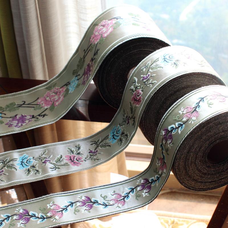 水伶纺 宽6CM8CM12CM大气百花图花边织带新加密提花窗帘布艺拼接