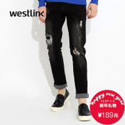 Westlink/West fall 2015 new fashion white holes black casual jeans for men pants
