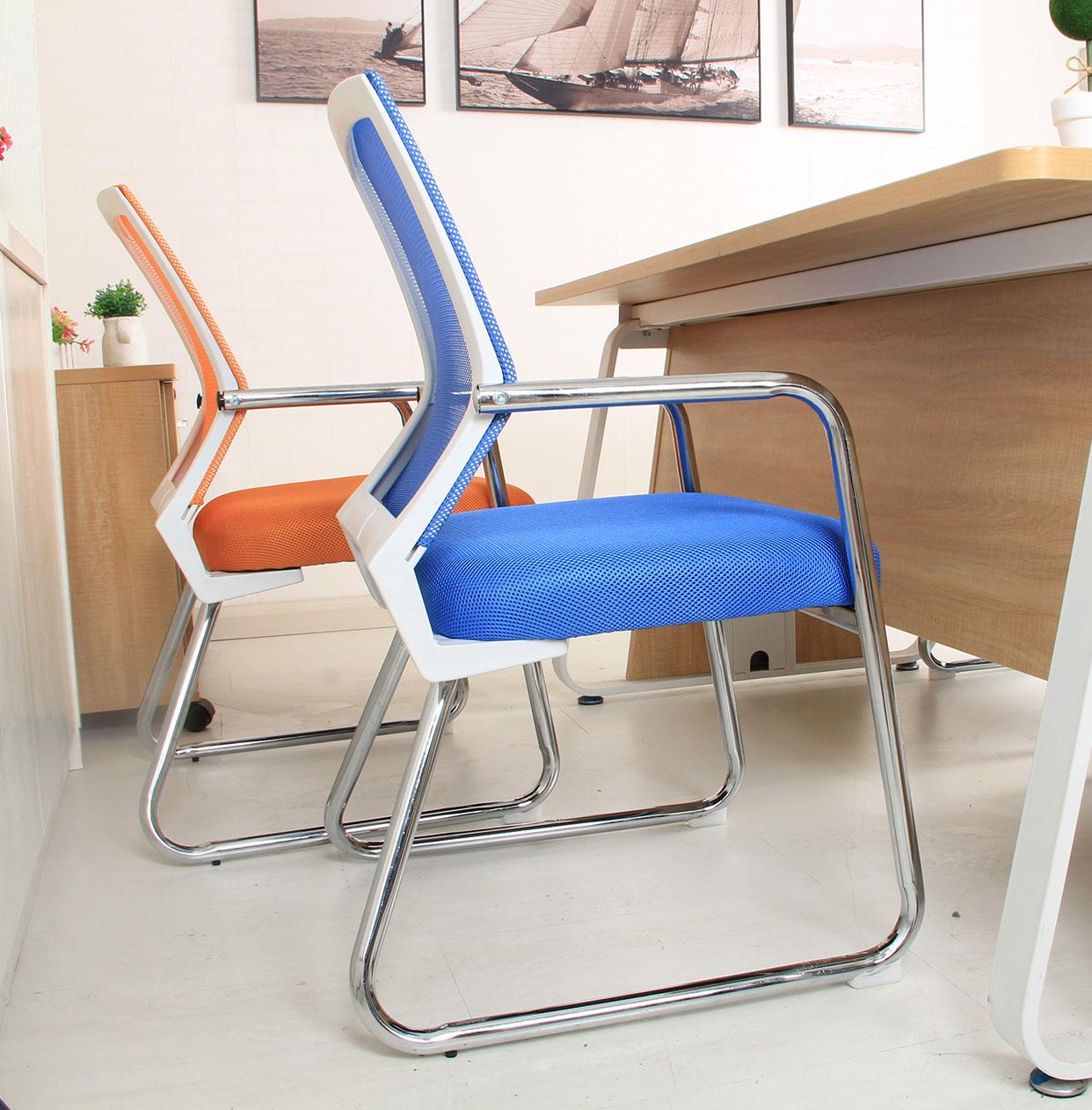 電腦椅 家用辦公椅四腳椅子會議麻將網布學生椅弓形人體工學凳子