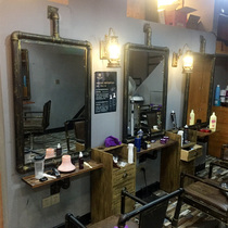 Iron Retro industrial Barber pipe mirror table frame mirror hair salon hair shop wall hanging cut single-sided mirror table