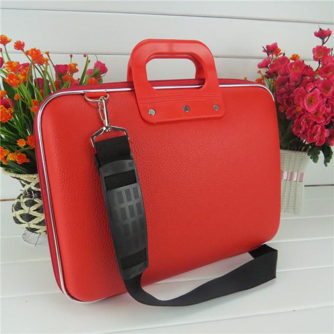 男女笔记本电脑包14寸15寸13寸防水红色皮革单肩手提定制商务包
