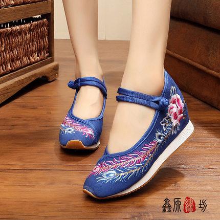 16新品 凤戏牡丹 运动版老北京绣花布鞋 民族风牛筋底广场舞女鞋