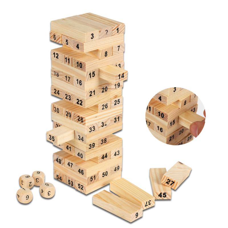 聚会幼儿园益智积木叠叠高木制儿童玩具 早教经典54根EX10021