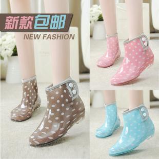 秋冬雨鞋 女式 防滑水靴 低帮果冻学生短筒雨靴时尚 保暖套鞋 加绒胶鞋
