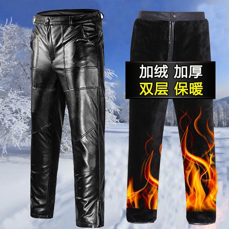 中老年男士皮裤加绒加厚冬季防水防风保暖裤pu皮大码直筒机车男裤