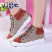 This fall 2015 canvas women Hi-high casual shoes fashion shoes rivet colour matching women