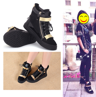 gz high top shoes casual shoes European leg female boots flat bottomed shoes strap boots tide