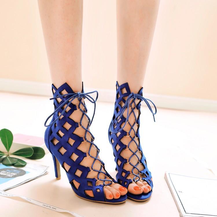皇潮之城 外贸爆款 凉靴交叉系带欧美时尚个性镂空罗马凉鞋子女鞋图片
