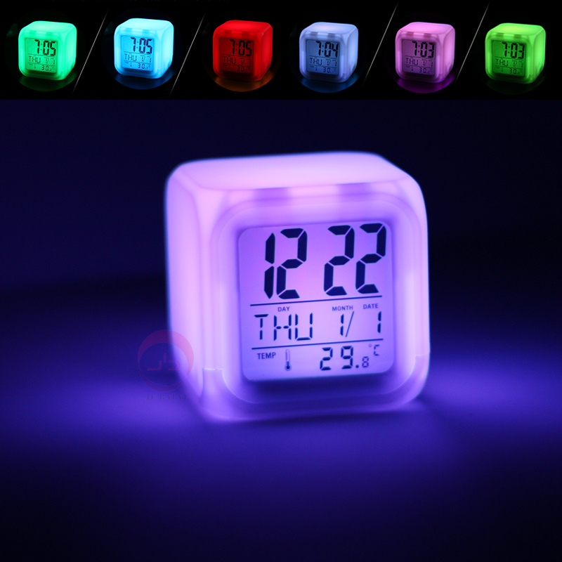 Творческий семицветные будильник студент небольшой будильник немой мультики бездельник прикроватный серебристые простой электронный часы