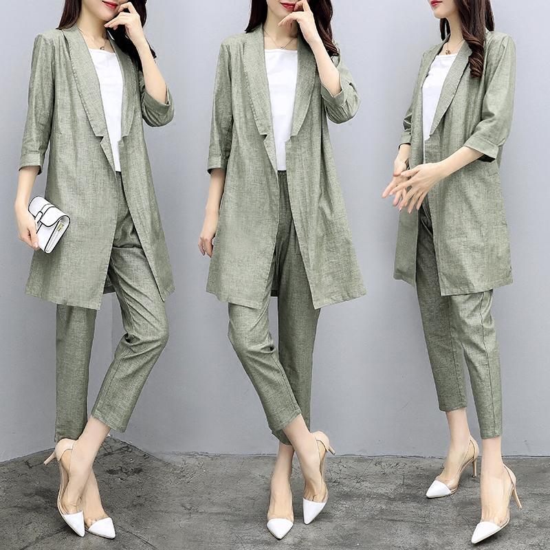 2018新款女装春装两件套裤棉麻西装外套九分裤休闲时尚套装女名媛