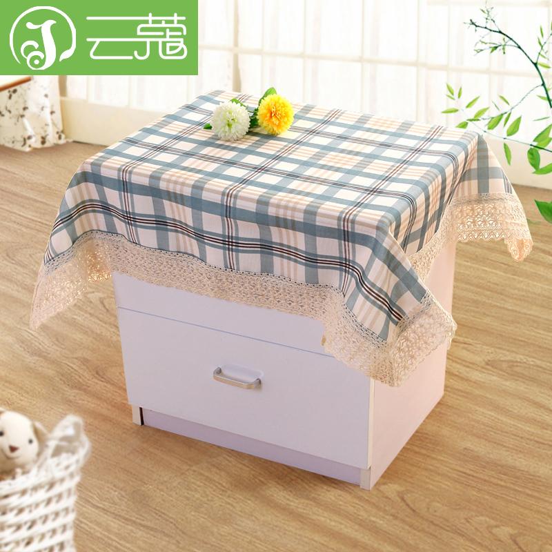 雲蔻 床頭櫃蓋布小圓桌布棉邊多用蓋巾床頭櫃罩田園布藝防塵罩