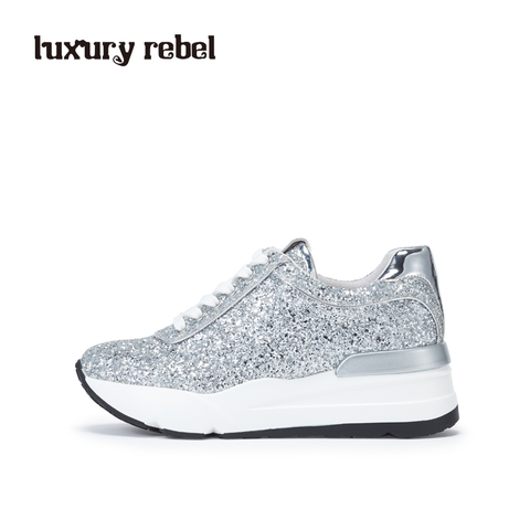 Luxury Rebel 2017春季新款亮片布厚底松糕鞋运动鞋女鞋L75160990