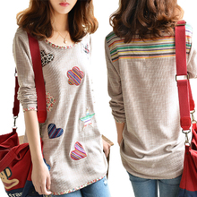 Autumn outfit new han edition big yards knitting cotton cloth printing loose long-sleeved top fat MM long T-shirt in the female