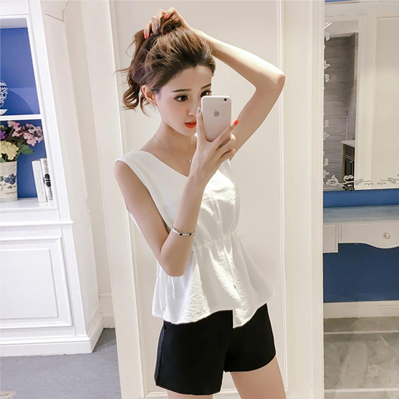 韩版棉麻无袖短款背心夏装新款时尚收腰打底衫显瘦系带小清新上衣