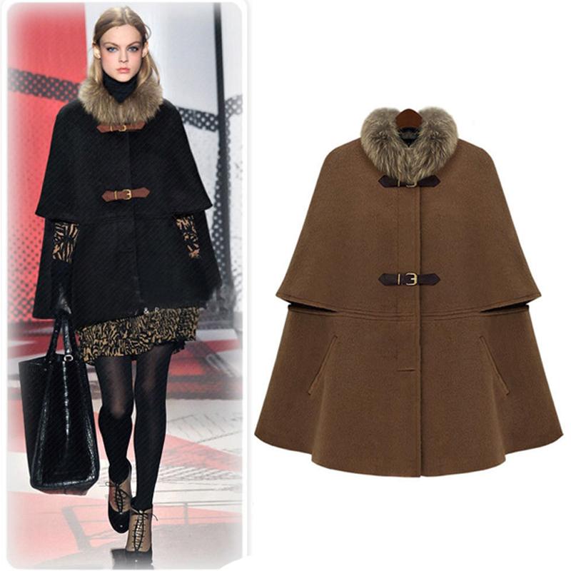 2017 autumn and winter fashion new European and American temperament celebrity Cape woolen coat woolen collar shawl cashmere coat female