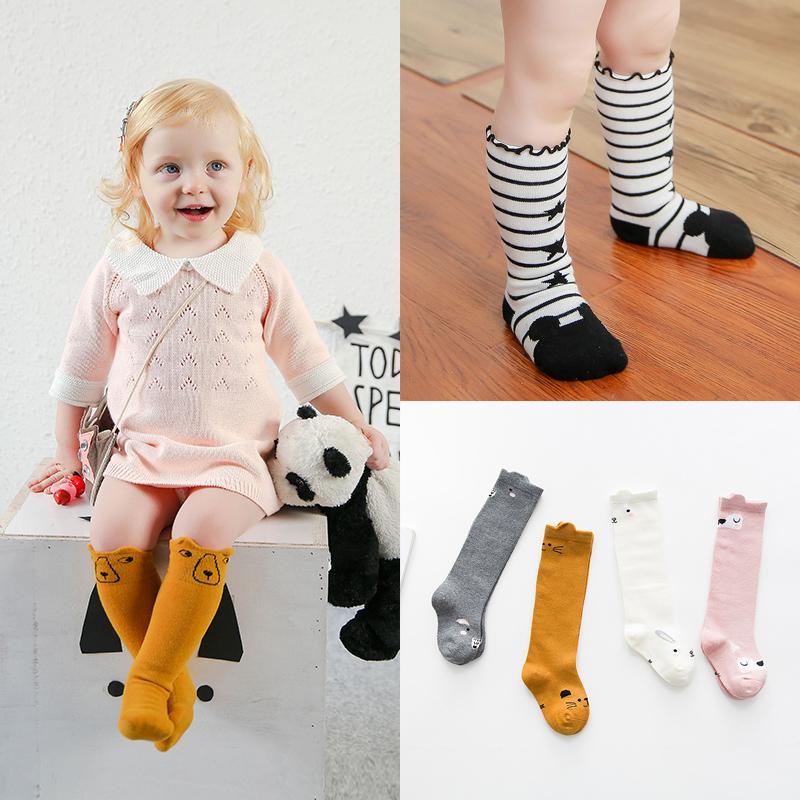 儿童袜子春季男女童新生儿婴儿袜宝宝袜子纯卡通棉中筒袜0-1-3岁