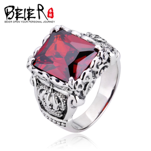 925 Silver Crown Japan and South Korea retro pattern ruby ring Thai Silver Men s ring fashion jewelry tide