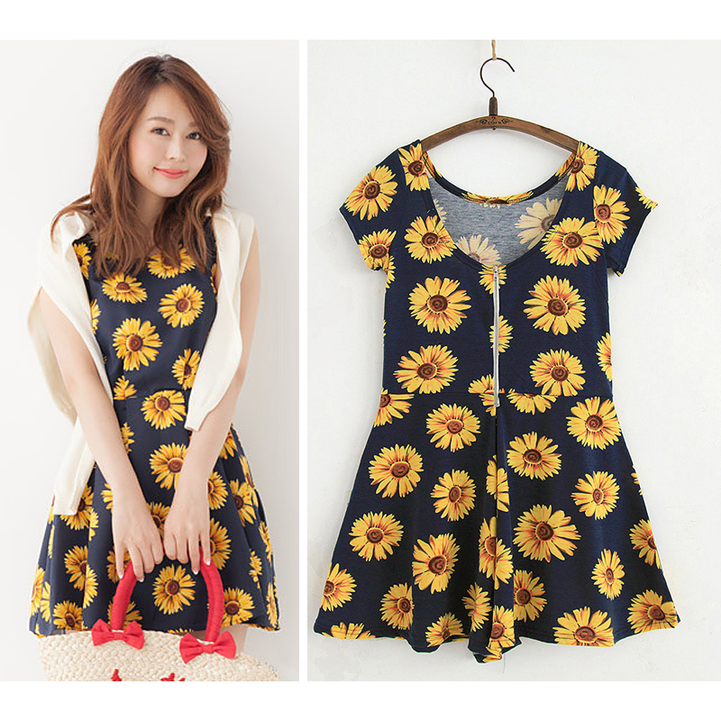 Lose money! Beach skirt flower print small open back zipper short sleeve slim combed cotton Jumpsuit