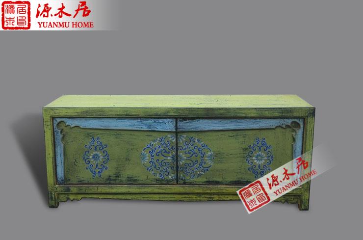 中式仿古做旧玄关柜 电视柜 鞋柜 储物柜 餐边柜 彩绘实木家具
