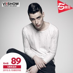 Viishow2015 spring wave new men's long sleeve t-shirt in Europe and men's white long sleeve t-shirt