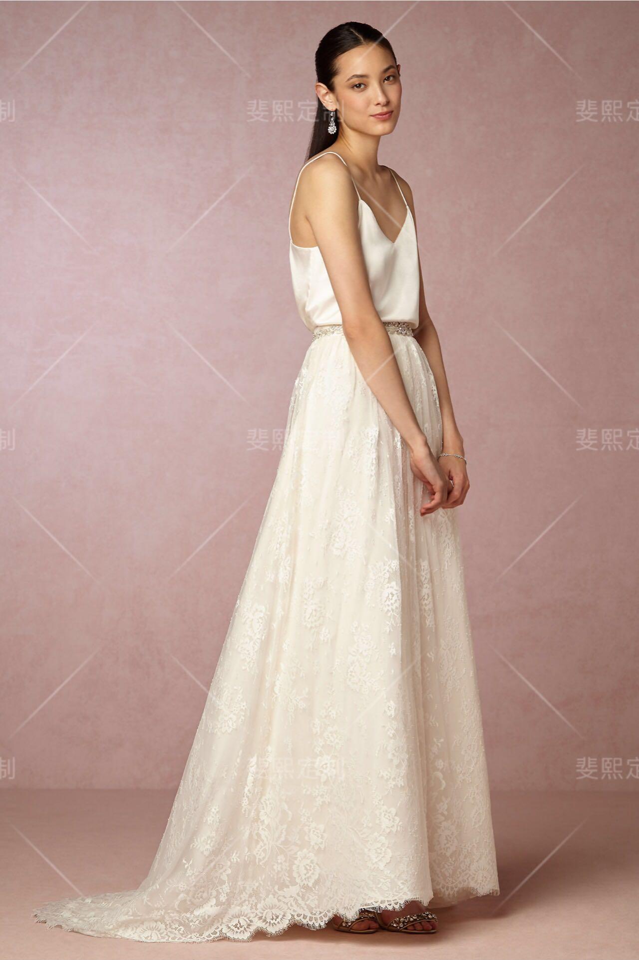 斐熙定制春季新品白色蕾丝拖尾半身裙两件式婚纱旅拍轻便婚纱