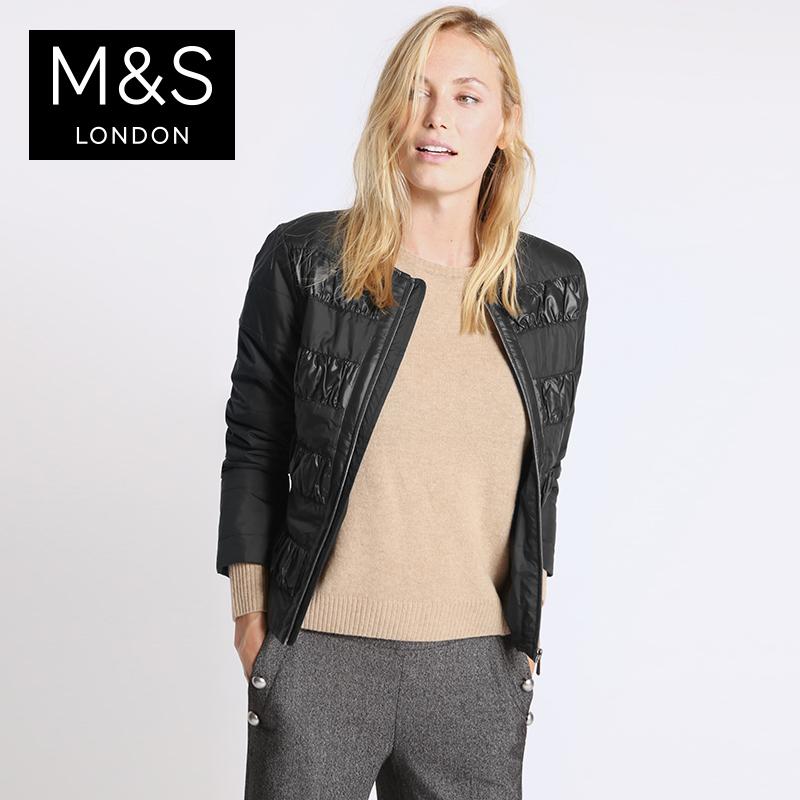 聚促M  S 馬莎 女Stormwear寬鬆款內墊絎縫夾克短外套 T493554