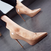 New European and American pointy shoes in autumn 2019, patent leather waterproof platform, thin heels, high heels, light mouth, foot covering, single shoes, women's black