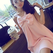 Summer new lovely big society posed A three-dimensional bowknot is pure color condole belt word doll chiffon dress
