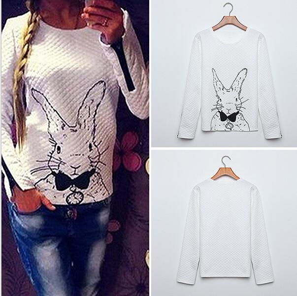 9059# aliexpress eBay взрывы 2016 весной свитер милый кролик печати шею свитер и твердых