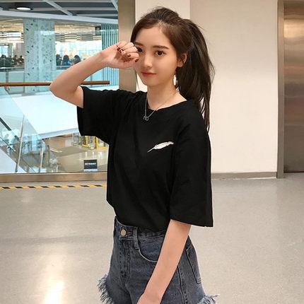 2017夏装新款韩版宽松羽毛刺绣短袖T恤衫女纯色百搭圆领学生上衣