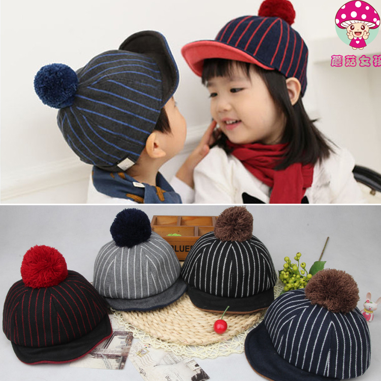 Korean childrens Hat Baby personality autumn and winter woolen cloth Ou Han wool ball soft edge baseball duck tongue hat for boys and girls