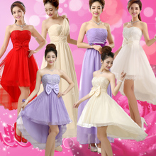 A toast to the new clothing bride bridesmaid dresses red wedding dresses wedding tuxedo summer evening wear short skirt sisters