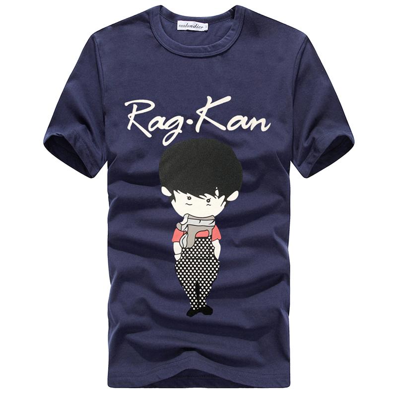 Летний корейский тонкий мужчин короткие t рубашку t рубашки вокруг шеи полосы на верхней рукав Одежда прилив Летняя Мужская одежда