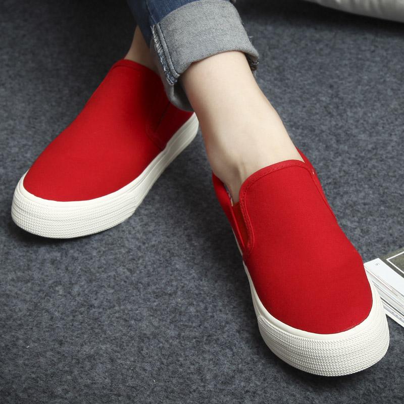 环球厚底内增高乐福鞋蓝色一脚蹬懒人鞋帆布鞋女休闲大红色学生鞋