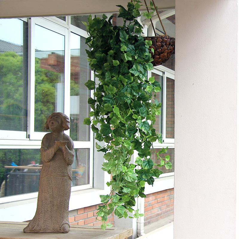 知根 仿真植物綠植 藤條藤蔓 葡萄葉藤壁掛 塑料假花裝飾吊籃花卉