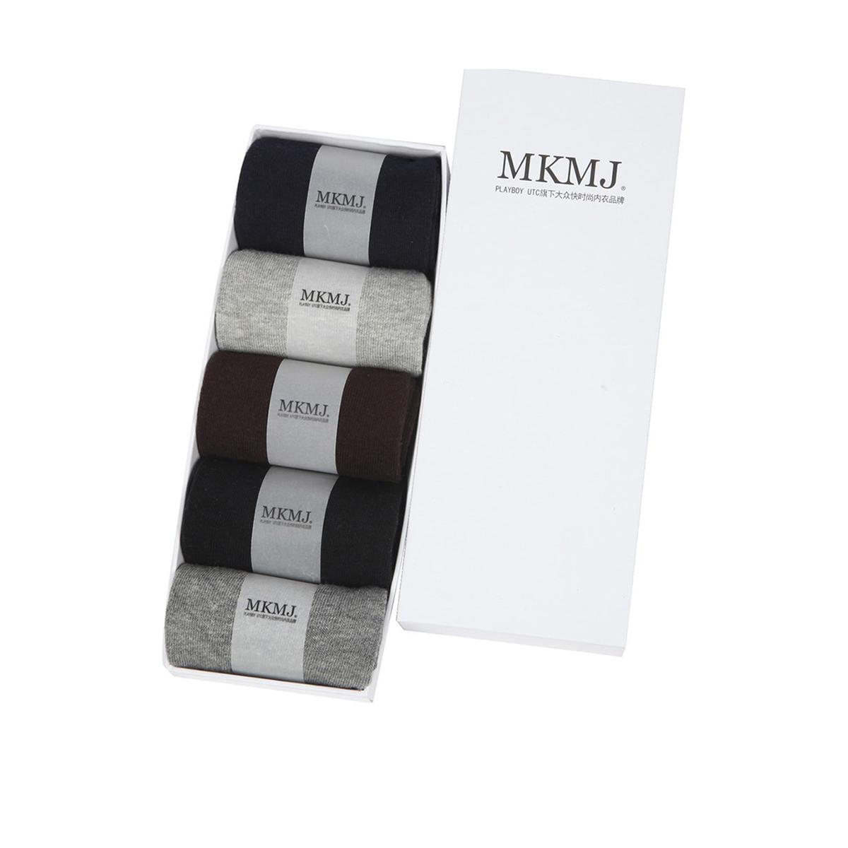 mkmj男式極簡純色舒適短襪5雙裝