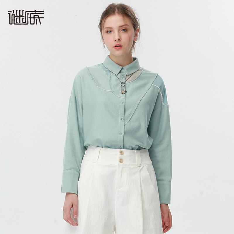 谜底女装春装新款H型纯棉衬衣女171MC0165