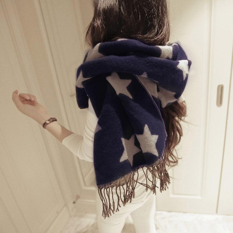 秋 女士五角星仿羊絨保暖加厚圍巾超大披肩兩用流蘇圍脖