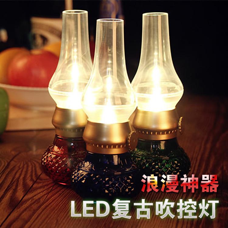 创意LED吹控灯充电电子蜡烛灯卧室床头灯节能可插小夜灯