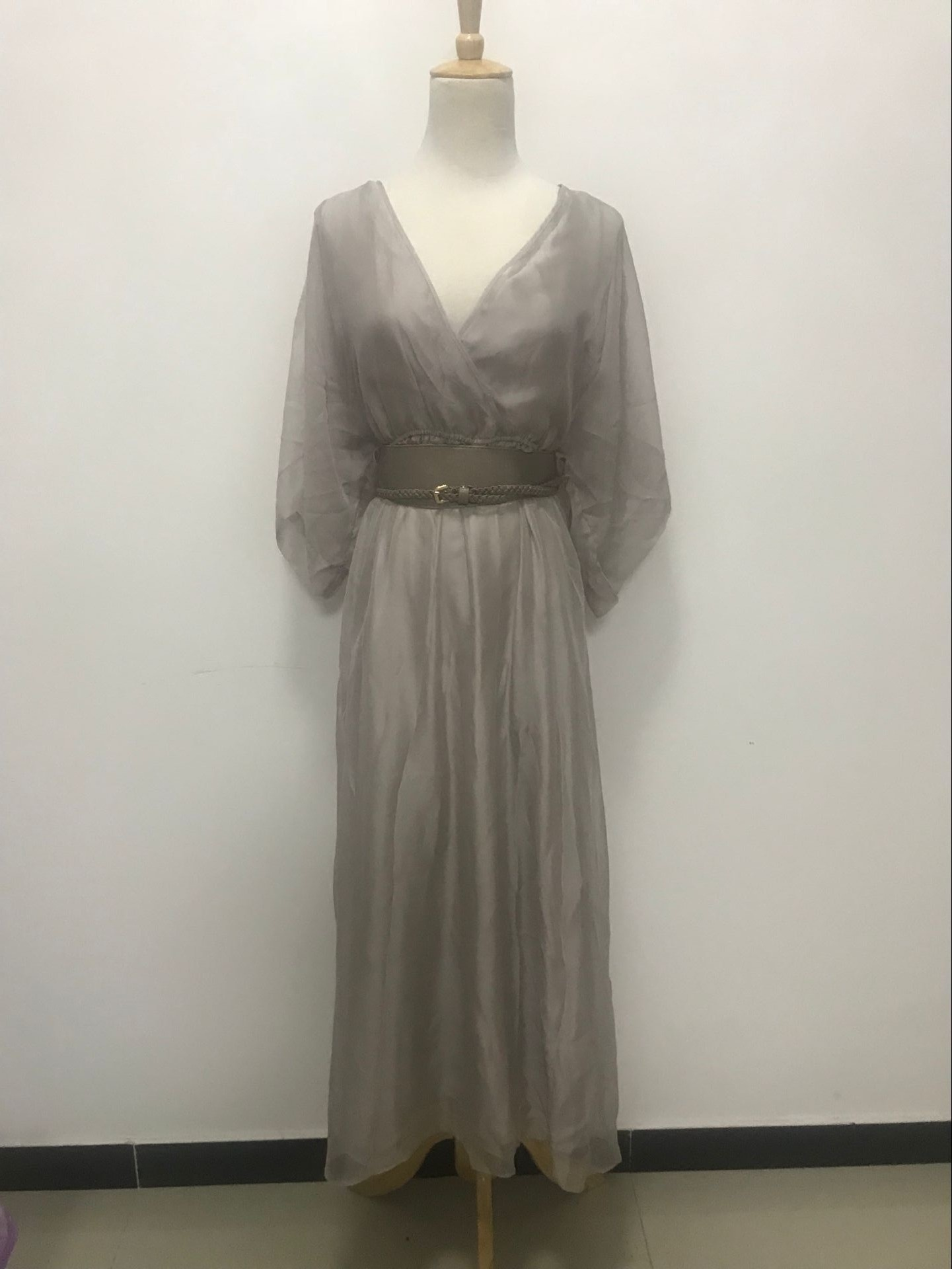 2018夏季新款V领五分袖雪纺长裙连衣裙|31826Z516