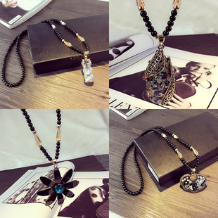 Free shipping color shell long paragraph Korean retro sweater chain clothes accessories jewelry pendant necklace Korea fashion decoration