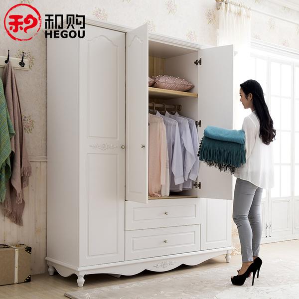 和购家具 韩式田园四门大衣柜卧室整体储物柜子实木儿童衣橱HG082