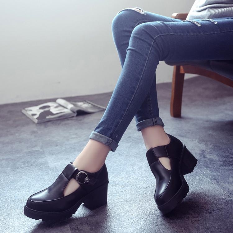 Весной и осенью в Академии Англии женщин ретро женская обувь с толстой круглые плоскодонные обувь кружева