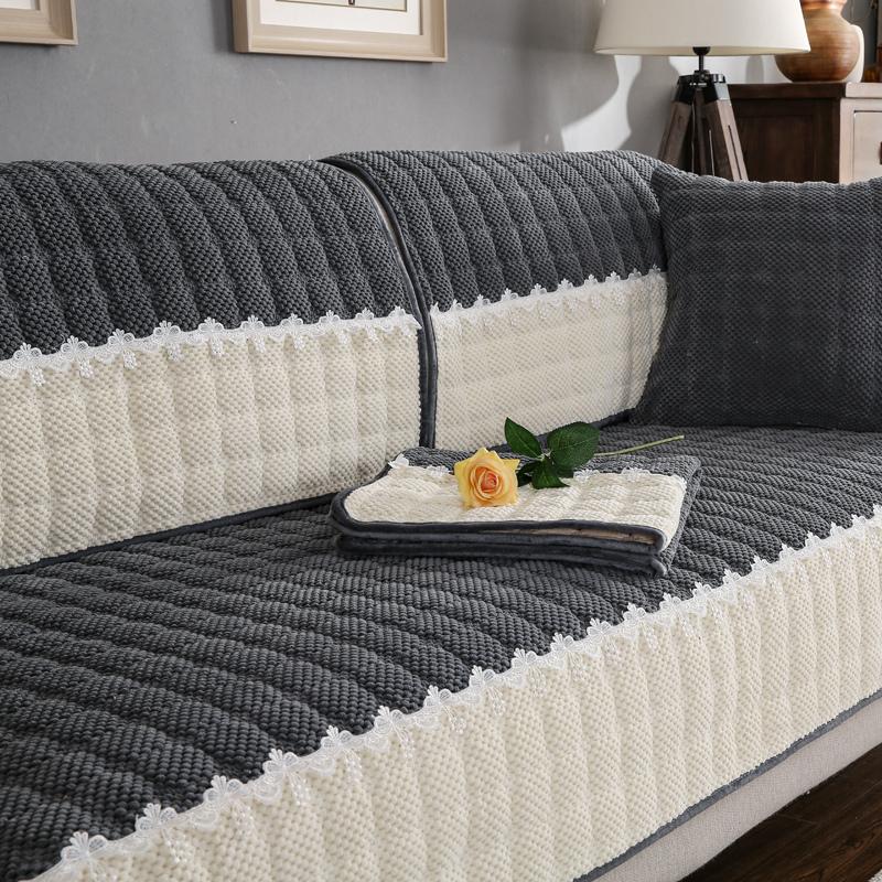 冬天冬季毛绒沙发垫加厚现代简约欧式布艺防滑坐垫沙发罩套巾定做