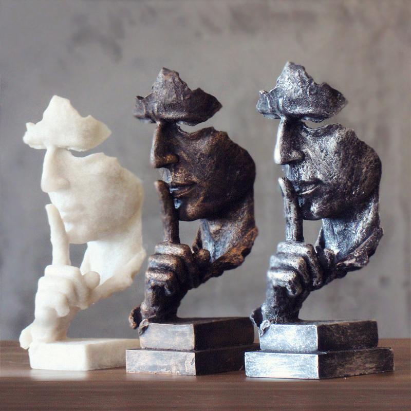 辦公室客廳藝術裝飾品擺設沉默是金雕塑複古樹脂工藝品擺件