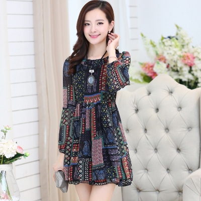 Fall 2015 new han edition large size ladies' OL temperament of restoring ancient ways of cultivate one's morality floral printed long sleeve chiffon dress