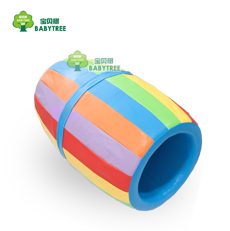 感统训练器材软体彩色滚筒早教幼儿园园儿童教具软包大滚圆筒钻洞