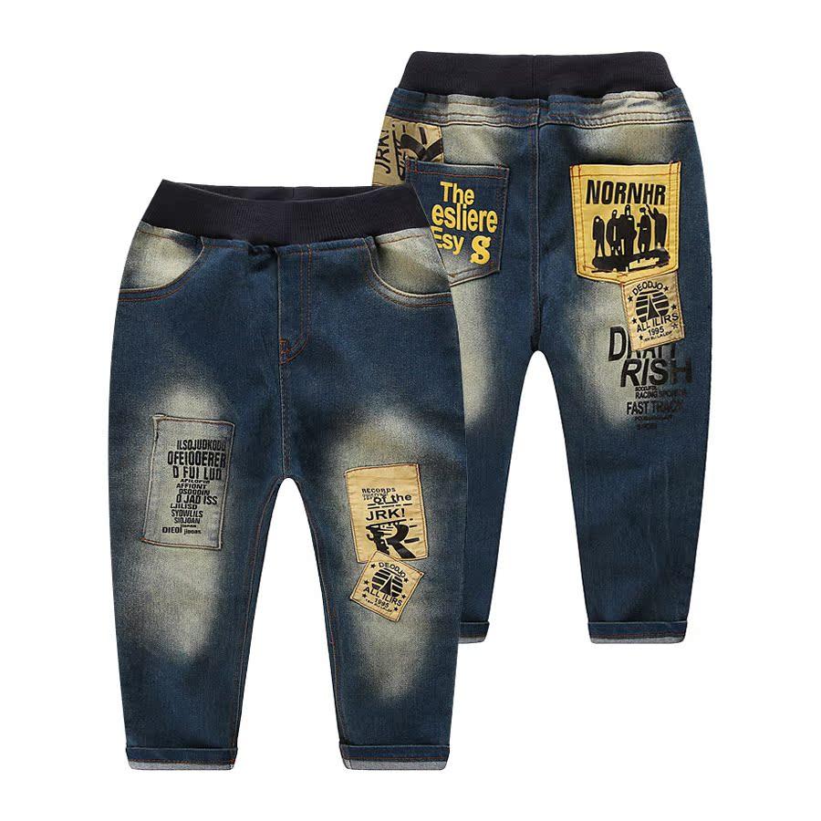 2015 году осенью корейской версии нового письма мальчик Детская одежда ребенка ребенка джинсы брюки kz-5833