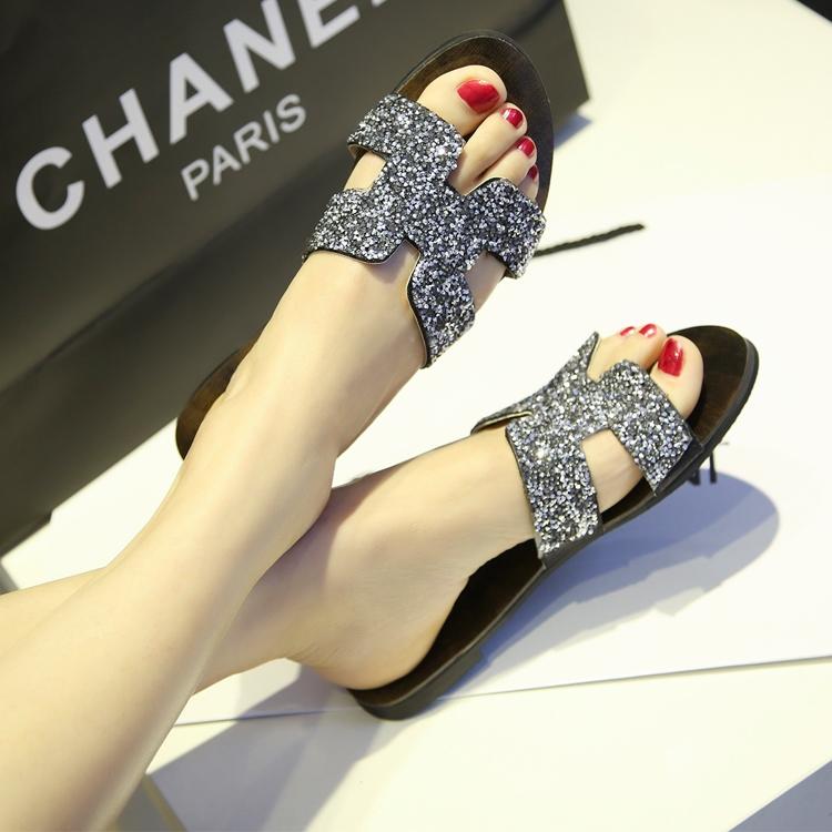 Европа h стразы флип flops сандалии женщин 2015 летние низкие плоские сандалии флип флоп тапочки на продажу